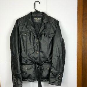 Faux Leather belted jacket Sz M